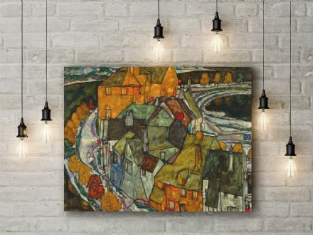 Egon Schiele: Crescent of Houses II (Island Town). Fine Art Canvas.